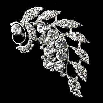 3 Leaf Flower Diamante Brooch Rhodium Silver Plated Vintage Style Rhinestone Broach Pin