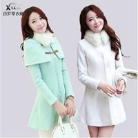 2014 New Arrival Women Woolen Coat Winter Slim Cotton Lapel Overcoat Double Breast thick Warm Coats Outerwear