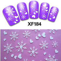 1 sheets New Fashion Christmas Snowflake Nail Stickers Water Transfer Decals Manicure Watermark Stickers DIY for Nail Art #XF184