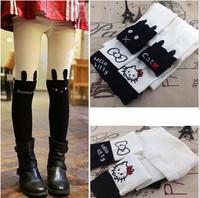 wholesale 2~8years 6pcs/lot Spring autumn winter 2014 new children pantyhose patchwork knee-high cat cotton socks girls socks
