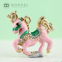 H170b Brand New 3pcs Cute Pink Unicorn Crystal Pendant Charm