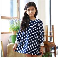 Baby Girl Dot Lace Blue Dresses, Princess Kids Elegant Formal Lady Wear  Wholesale 5 pcs/lot,