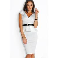 Di Ramon Euramerican Fashion Work Dress Short Sleeve V-neck Slim Fit Package Hip Women Dress White Ruffled Belted Peplum Dresses