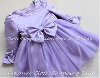 2015 New Princess Tutu dress girls 'dresses children Lori court dress Purple Bow party Wedding costume dress
