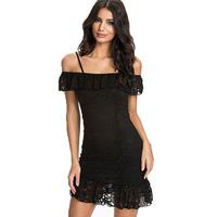 European and American Unique Sleeveless Slash Word Spaghetti Strap Women Dress Black Double Frill Lace Cute Free Size Mini Dress