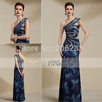 82086 top quality design Velvet Beaded Short Train See Through One Shoulder Evening Dress elegant Dress 1pc+free shipping