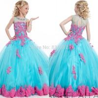 New Arrival 2014 Little Girls Pageant Dress Fuchsia and Blue Ball Gown Beads Lace Applique Floor Length Flower Girls Dress 2015