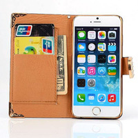 Luxury PU LIZARD Leather Case for iphone6,Bling Diamond Buckle Credit Card Holder Wallet Cover with Strap for iPhone 6 4.7