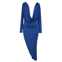 Solid Blue Drape Front Maxi Dress European and American Package Hip Fashion Long-sleeved V-neck Dress Slim Fit Irregular dress