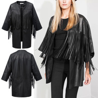 Hot Sale Trendy Hollow Out Faux Leather Black Irregular Tassels Fringed Cardigan Cloak Cape Jacket Poncho Coat Blouse Tops