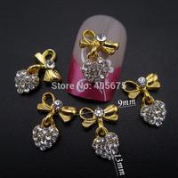 50pcs  Gold bows chain heart pendant chains for nails DIY 3d nail art supplies MNS787