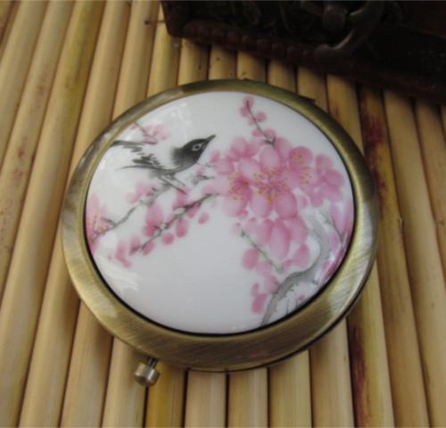 Noble nostalgic bronze vintage estilo chinês azul e branco da porcelana yuanjing dobrar espelho portátil(China (Mainland))