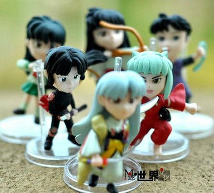 6pcs inuyasha doll japanese cartoon pvc action figure toys for children freeshipping(China (Mainland))