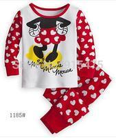 2015 New Arrival Mickey Dot Pajamas 100% Cotton Baby Pijamas Kids sleepwear clothing Boys Pyjamas Children's wear 6set/lot