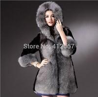 Fashion Winter Black Wide-waisted ladies Faux Long Fox Mink Coat Elegant Women Mink Fur Coats With Big Fur Trim Hood