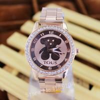 Promotional Gold Steel Cartoon Watch Women Crystal Quartz Watcesh Luxury Lady Dress Wristwatches 1 Piece Free Shipping