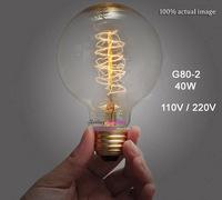 G80-2 Retro Incandescent Vintage Light Bulb DIY Handmade Edison Bulb Fixtures,E27/110V/220V/40W lamp Bulbs 1 pcs Free Shipping