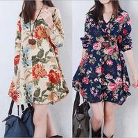 2014-2015 Autumn Spring Women Dress Print Flower Casual Females Dress Short Loose Vestidos Plus Size Vestido de festa Winter