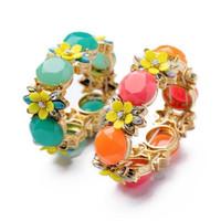 Trendy Multicolour Flower Vintage Acrylic Bangles Jewelry Handmade Women Charm Fashion Party Alloy Bracelets