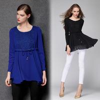 Plus Size Women Clothing xxl,xxxl,xxxxl Lace Trim Chiffon Blouse Ruffles Drawstring Waist Flared Blusas Femininas  #ZR3286