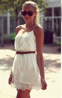 free shipping!2015 new Summer Dress  Pure Color Flower Women Casual Lace Spaghetti Strap Dress Vestidos