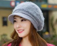 2014 New Women Hat Fashion Lovely Rabbit Fur Beanies Korean Kintted Woolen Hat Warm Winter Hats For Women Caps Women Beanie Hat
