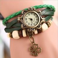 7 Color Relogios Femininos Genuine Leather Strap Casual Women Watches,Four-leaf clover Pendant Antique Bracelet Wristwatches Hot