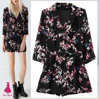 Celebrity Women Trendy Ethnic Colorful Floral Print Black Short Bodysuit Jumpsuit Romper one piece jumpsuit New Arrivals Hot