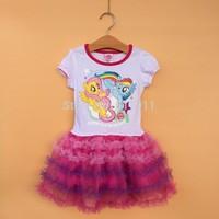 wholesale 6pcs/lot brand girls dress children's my little pony short sleeve tutu lace dress for summer fashion kids party dress
