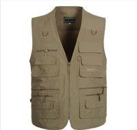 2014 New Men Outdoor MultiPocket Photographer Reporter Vest Plus Size sleeveless jacket fishing Waistcoat veste colete masculino