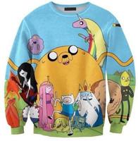 Women Sweatshirts 2015 New Adventure Time Printed Shirts Casual Tracksuits Punk Cartoon Hoodies Sexy Sweater