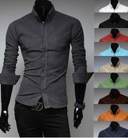 Free Shipping High Quality Autumn Winter New Arrival Fashion Thicken Turn-down Collar Velvet Long Sleeve Man Shirt