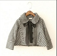 2014 Autumn & Winter New Retail Arrival Girl Fashion Houndstooth Jacket Children Child Plaid Coat Baby Thickening Outerwear