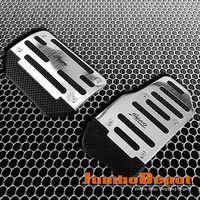 Silver Racing Fuel Brake Gas Foot Automatic Pedals Pad Aluminum Plate 2Pcs