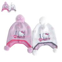Super Cute Boys Girls Cute KT Kitten Cat Knitted Beanies High Quality Fashion Skullies Kids Ear Protective Warm Hats Y-1322