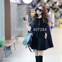 2014 plus size small woolen outerwear medium-long cloak woolen overcoat women ponchos