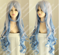 Free shipping The blue grey melange color Fluffy big waves long curly wig fashionable girl hair wigs Christmas wig