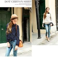 Long Sleeve Tops Slim Women's Blouses & Shirts  New Polka Dot Shirt Women Cardigan casual H06 Free shipping