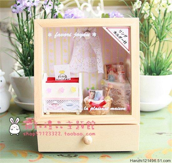 Hot dollhouse cute baby stationery store music box / music box / jewelry box / ring box(China (Mainland))