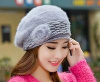 2014 New Women Hat Lovely Foral Rabbit Fur Caps Beanies Korean Kintted Woolen Hat Warm Winter Hats For Women Caps Women Beanie