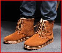 Hot sale cheap 2014 new casual fashion ankle warm men boots winter fur snow boots cotton vintage men flats shoes Man Walking