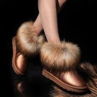 2014 autumn and winter waterproof boots women boots women slip-resistant shoes large fox fur boots short snow boots female Q272