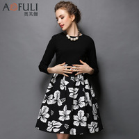 New arrival 2015 Plus size 5XL Slim fit Black&White/Black&Red Two-piece dress High-quality Women Autumn Winter Long sleeve Dress
