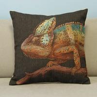 "Colorful Animal Chameleon Cotton Blend Linen Pillow Case Office Decor Cushion Cover Square 18"""