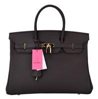 Bagroo  Genuine Leather Padlock Handbags With Golden Hardware