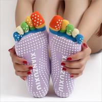 Non slip Winter Colorful Toe Socks Five Fingers Cotton Socks Women Sports Practice Yoga Socks 6 Colors Free Size