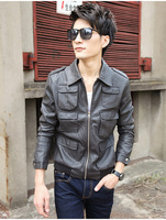 Autumn men's slim design short outerwear male motorcycle water wash PU clothing stand collar leather jacket