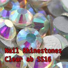 Aomei A + plana volta Non hotfix rhinesotnes SS16 cristal AB / cristal AB 1440 pcs melhor quatily nail art strass de vidro