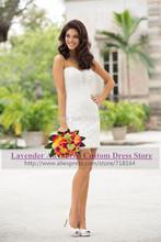 2015 fashion vintage romantic lace wedding dress sexy short bridal gown knee length bride dress vestido de noiva curto casamento(China (Mainland))