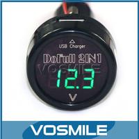 5 PCS DC12V/24V Green LED Digital 2in1  Voltmeter USB Car Charging Power Supply  SUV/Taxi/Bus/Large trucks and DIY etc #100003